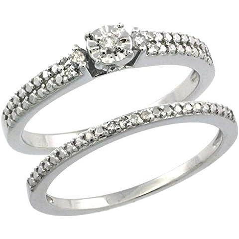 Revoni-Collana in argento Sterling stile Vintage, 2-Pc. 11-Anello di fidanzamento, pietra diamante da 0,15 kt con diamanti taglio brillante, misure disponibili da J a