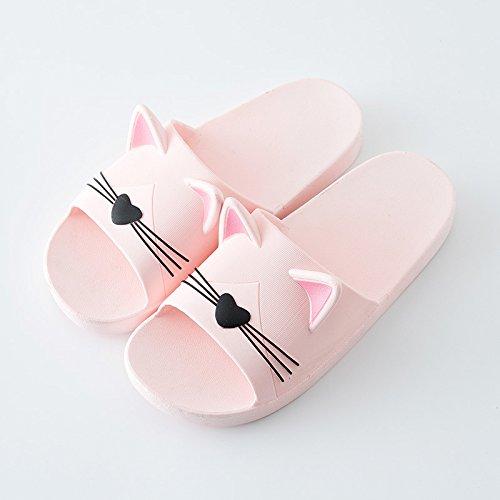 Fankou ciabatte di plastica estate ragazze cartoon personalizzati gatti orecchio carino coppie, gli uomini e le donne a rimanere con una piscina ciabatte da bagno,37-38, rosa f