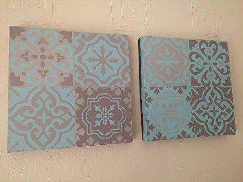 duo-de-toiles-30-x-30-peintes-motifs-carreaux-de-ciment-diptyque