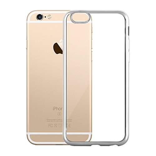 Cadorabo – TPU Ultra Slim Chrome Silikon Hülle Case Cover Schutz-Hülle für >            Apple iPhone 6 / 6S            < in TRANSPARENT mit CHROM-SILBER CHROM-SILBER