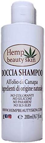 Doccia Shampoo con olio di canapa - idratante - 200 ml - solo ingredienti naturali per pelle delicata sensibil