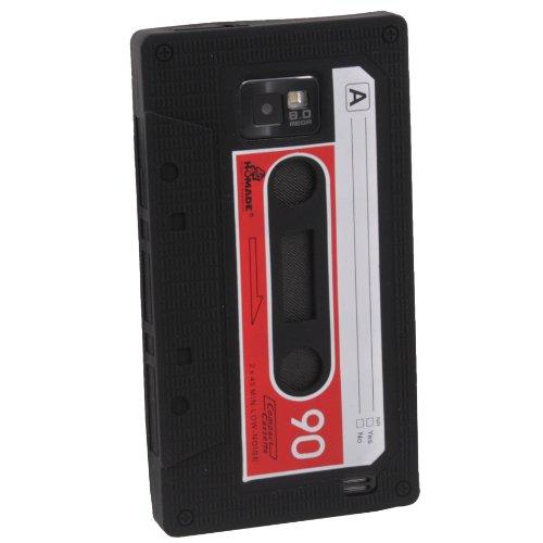 Schwarz Retro Kassette Silikon Gel Schutzhülle für Samsung Galaxy S2i9100(nicht für Sprint und - Case T-mobile Galaxy S2