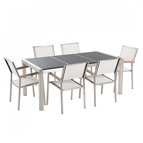 Gartenmöbel - Granitgartentisch 180 cm schwarz poliert mit 6 weissen Stühlen - GROSSETO