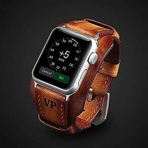 Luxus Apple Watch Strap Hand genäht Vintage echtes Leder Apple Watch Band 38mm 42mm 44mm iwatch Band Gurt Herren Freund Mann Geschenk Serie 5 4 3 2 1 personalisierte graviert Geschenk Luxus Premium
