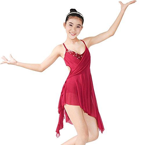 MiDee Hemdchen, Oder So Was V-Ausschnitt Hoch-Low Lyrischen Kleid Latin Dance Kostüm (Wein, (Billig Lyrical Kostüme Dance)