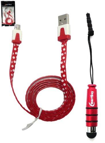 Emartbuy Polka Dots Range Duo Packfür ZTE Blade Velocity / ZTE Blade A610 Plus / ZTE Voyage 4S - Rot Mini Eingabestift + Polka Dots Rot / Weiß Flaches Anti-Tangle Micro USB Kabel -