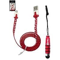 Emartbuy® Tupfen Bereich Duo Pack Für Samsung Galaxy S5 - Rot Metallic Mini Stylus + Polka Dots Rot / Weiss Flach Anti-Tangle Micro USB Sync Übertragen Von Daten Und Ladekabel