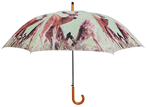 Regenschirm Stockschirm mit Holzgriff grün- braun Reh mit Kitz Wild Waldtiere