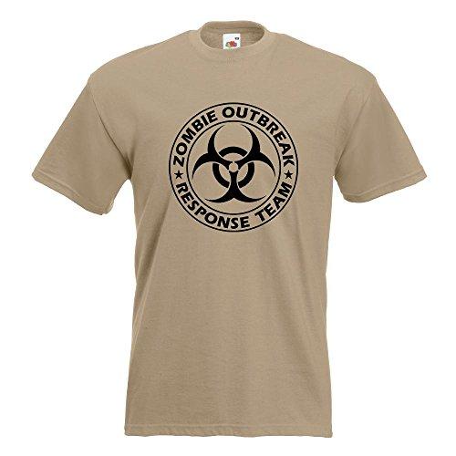 KIWISTAR - Zombie Outbreak Biohazzard T-Shirt in 15 verschiedenen Farben - Herren Funshirt bedruckt Design Sprüche Spruch Motive Oberteil Baumwolle Print Größe S M L XL XXL Khaki