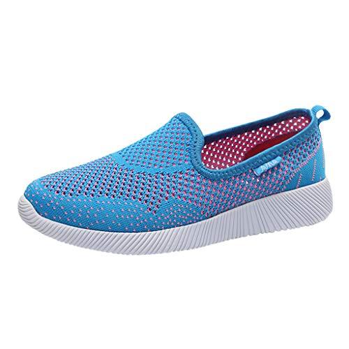 SSUPLYMY Damen Atmungsaktiv Netz Keilabsatz Schuhe Leicht Laufschuhe Fitness Laufen Freizeitschuhe Mode Frauen Luftpolster Plateauschuhe schütteln Schuhe Slip Sport Turnschuhe -