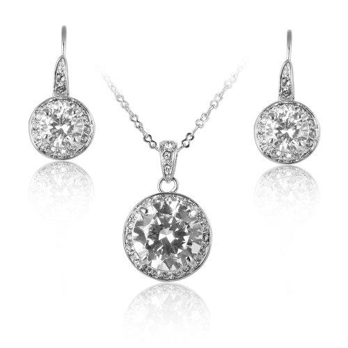 fairy-couple-femme-fille-chaine-plaque-argent-cristal-clair-rond-pendentif-collier-boucle-doreille-b