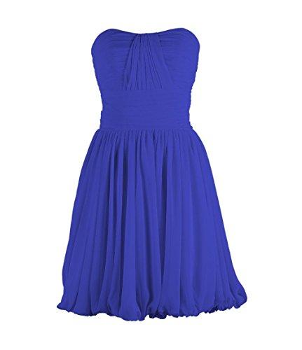 YiYaDawn Kurzes Brautjungfernkleid Cocktailkleid für Damen Blau