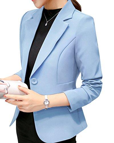 ZhuiKun Donna Blazer Slim Fit Maniche Lunghe Elegante Giacca Azzurro Chiaro S
