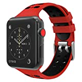 TiMOVO for Apple Watch Band, Soft Silicone Adjustable Replacement Band with Double Buckle for iWatch 38mm series 3/2 / 1, Red & Black (Not fit 42mm Versions)