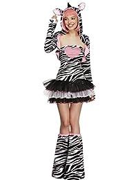 Fever, Damen Zebra Kostüm, Tutu-Kleid mit abnehmbaren Trägern, Jacke mit Tier Kapuze und Überstiefel, Größe: L, 22798