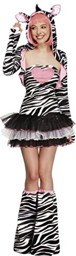 Fever Kollektion Zebra Damenkostüm mit Tutu-Kleid und abnehmbaren durchsichtigen Trägern Jacke mit Tier-Kapuze und Überstiefeln   , X-Small