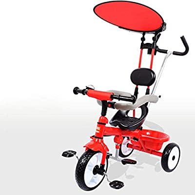 BGHKFF 3 In 1 Children's Hand Push Tricycle 12 Months To 6 Years Children's Pedal Tricycle Adjustable Handle Bar Childrens Tricycles Maximum Weight 30 Kg,Red