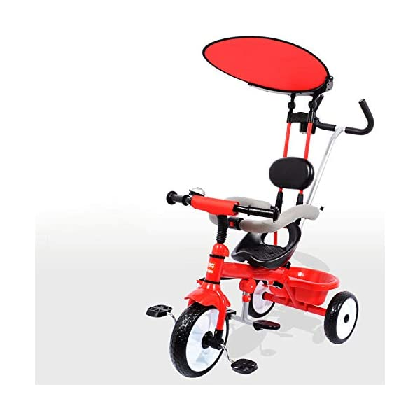 BGHKFF 3 In 1 Children's Hand Push Tricycle 12 Months To 6 Years Children's Pedal Tricycle Adjustable Handle Bar Childrens Tricycles Maximum Weight 30 Kg,Red  ★Material: Steel frame, suitable for children from 12 months to 6 years old, maximum weight 30 kg ★ 3-in-1 multi-function: convertible into stroller and tricycle. Remove the hand putter and awning, and the guardrail as a tricycle. ★Scientific design function: hand push rod can be adjusted; adjustable awning; footrest can be folded; metal steering rod; silent design 1