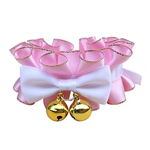 Haustier Hund Katze Bowtie Welpe Kitty Spitzenband Verstellbare Kragen Reizendes Rosa Kostüm Zubehör Für - Rosa Kitty Kostüm