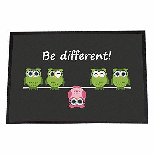 """Designer Fußmatte """"Be different"""" (Eulenmotiv) - Innenbereich - Außenbereich - Türmatte Schmutzfangmatte - 40 x 60 cm"""