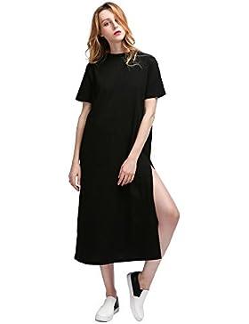 8f893d62788460 [Sponsorizzato]Vestiti Donna Casual Moda Nera Estivi Eleganti Lunghi  Spiaggia Vestito Manica corta