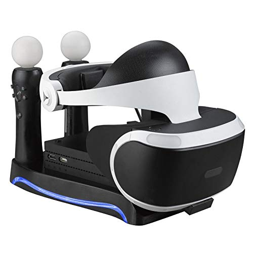 Cailiaoxindong 4in1 PSVR Ständer für PS4 VR PS VR Headset CUH-ZVR2 2. Generation + Ladestation Display Cradle für PS Move Showcase Cradle-headset