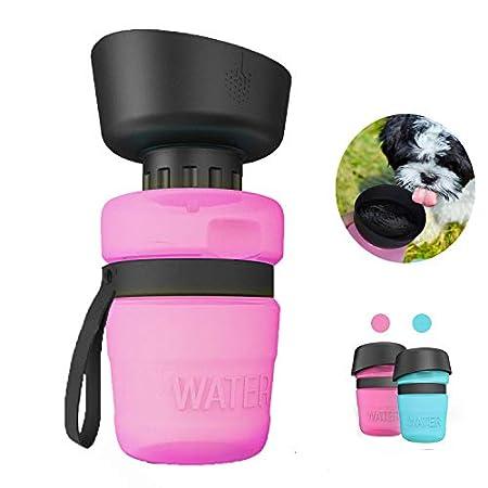Nice Dream Trinkflasche für Hunde, 520ml Hundeflasche, Hundetrinkflasche mit ON/Off auslaufsicherer Trinkschale…
