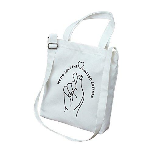 Wonque Damen Canvas Schultertasche Einkaufstasche College Wind Student Bag 1 Stück, Canvas, weiß, 32 * 38 cm -