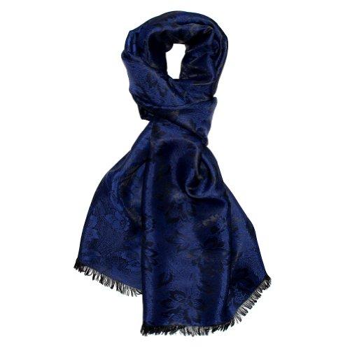 Lorenzo Cana Luxus Herren Schal Luxustuch elegant gewebt in Damastwebung florales Paisleymuster aus Viskose mit Seide dunkelviolett dunkelblau 55 cm x 190 cm - 890971177 - Krawatte Herren Seide Schal