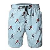 Jieaiuoo Men Swim Trunks Beach Shorts,Abstractines Background Ice Hockey Pattern Competitive Winter Season M