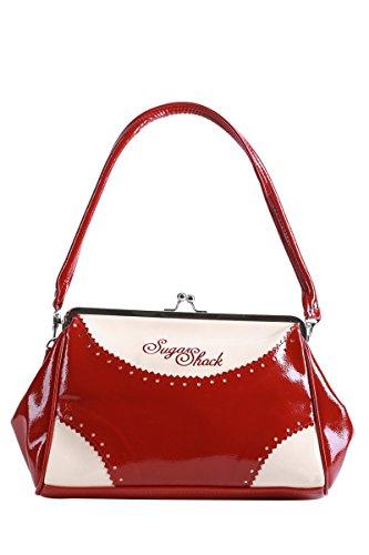 SugarShock ROSA 30er retro Budapester Kisslock Tasche Rockabilly Handtasche -