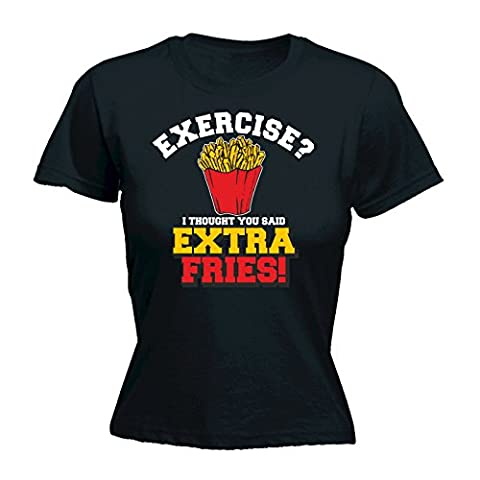 123t Women's Exercise I Thought You Said Extra Fries Fitness T Shirt Gym Tee Workout Top Weight Loss Training Funny Sarcasm Diet Geek Nerd Novelty Birthday Gift Ideas Christmas Present FITTED T-SHIRT funny