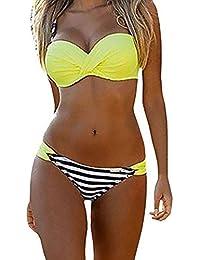 98c9b024ca7e ASSKDAN Femme Sexy Bikini Push-up à Bretelle à Rayure à Pois Maillot de Bain