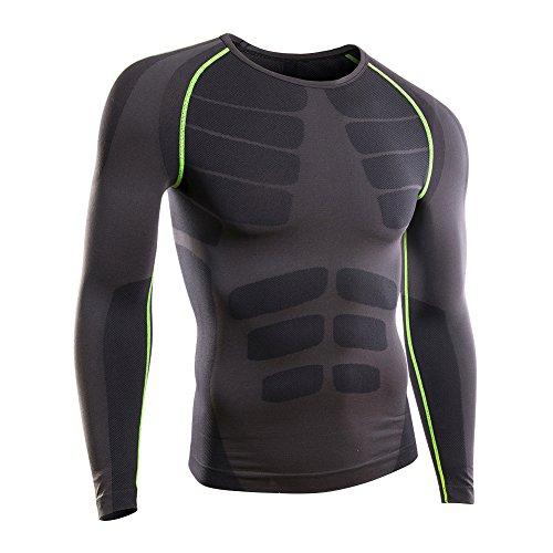 Rmine Herren Funktions Warme Unterwäsche Kompressionsshirt (Grau-grün, L(EU)) (Compression Shirt Tight-fit)
