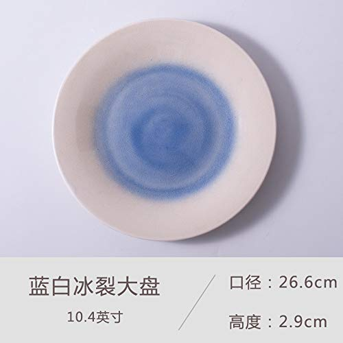 Piatto da bistecca creativo in ceramica piatto da portata occidentale piatto nordic disco tondo pasta pizza piatto blu e bianco ghiaccio incrinato piatto grande 10.4 pollici