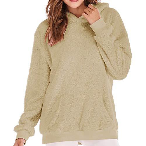 OverDose Damen Herbst-Winter-Ausflug-Art-Frauen-Elegante Partei-mit Kapuze Sweatshirt-Mantel-Winter-warme Reißverschlusstaschen-Baumwollmantel Outwear(X1-Türkis,EU-38/CN-XL )