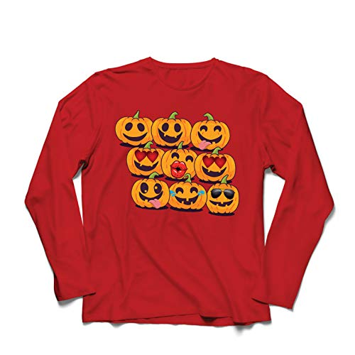 lepni.me Langarm Herren T Shirts Kürbis Emoji Lustiges Halloween-Party-Kostüm (XX-Large Rot Mehrfarben)