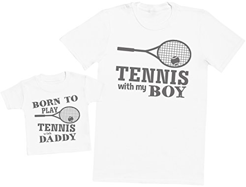 Zarlivia Clothing Born to Play Tennis with Daddy - Ensemble Père Bébé Cadeau - Hommes T-Shirt & T-Shirt bébé - Blanc - XX-Large & 3-6 Mois