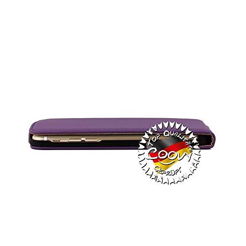 COOVY® SLIM FLIP COVER TASCHE SCHUTZ HÜLLE CASE ETUI FÜR APPLE iPhone 5/5s mit DISPLAYSCHUTZFOLIE Farbe hellblau lila