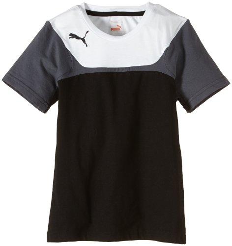 Puma Leisure Tee - T-shirt da bambino, Nero (nero / bianco), 164