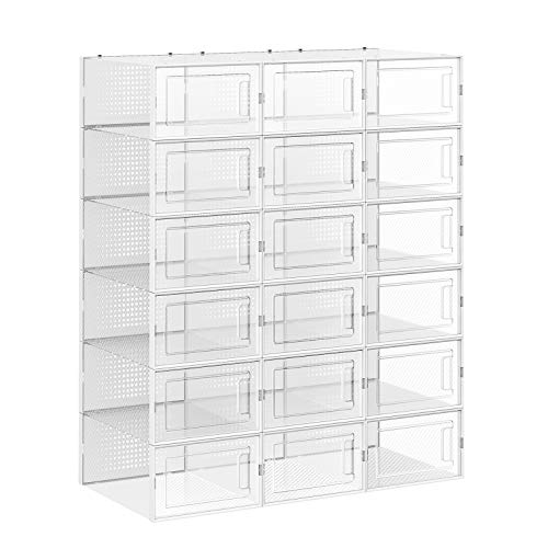 SONGMICS Schuhboxen, 18er Set, Aufbewahrungsboxen für Schuhe, Schuh-Organizer, faltbar und stapelbar, für Schuhe bis Größe 42, transparent LSP18WT -