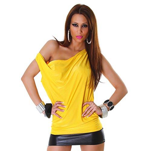 Damen Top Shirt Waserfall Bluse Ciffon Oberteil Stretch Elegant Sommer Party Gelb