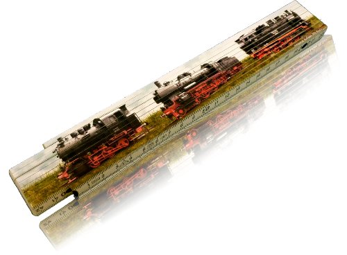 Zollstock Motiv Auswahl möglich Lokomotive bedruckt 2m