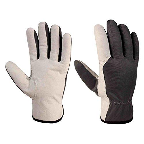 Xclou Arbeitshandschuhe in Schwarz/Weiß mit Leder-Verstärkung , Schutzhandschuhe M / Gr 8 mit Stulpe, Schutz-Handschuhe für Handwerker für Arbeit in Haus & für Hobby -