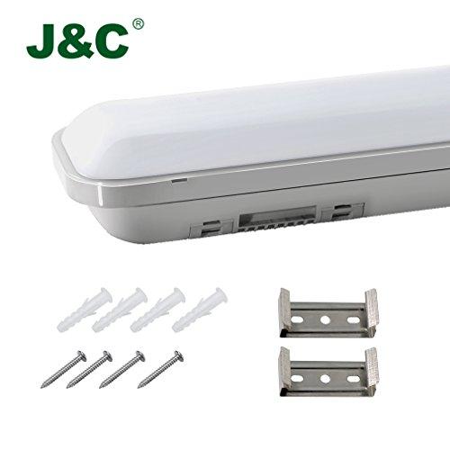 J&C® 60cm(2ft) IP65 Wasserdicht Feuchtraumleuchte Wannenleuchte, Sehr Hell 12W 2835 SMD 1000LM 4500K Naturweiß Leuchtstofflamp - Leuchtstoff-einbau