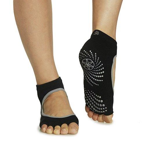 gaiam-grippy-toeless-yoga-socks-mary-jane-small-medium-black-grey