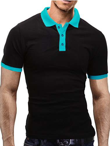 MERISH Poloshirt Herren Kontrastfarben T-Shirt Modell 1025 Schwarz-Türkis