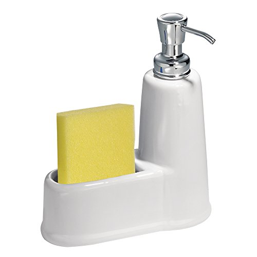 InterDesign York Soap and Sponge Caddy, White/ Chrome