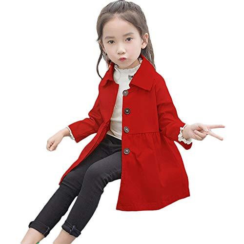 Bellelove❀ Kinder Einreiher Trenchcoat, Mädchen Herbst Revers Mantel Einfarbig Windjacke