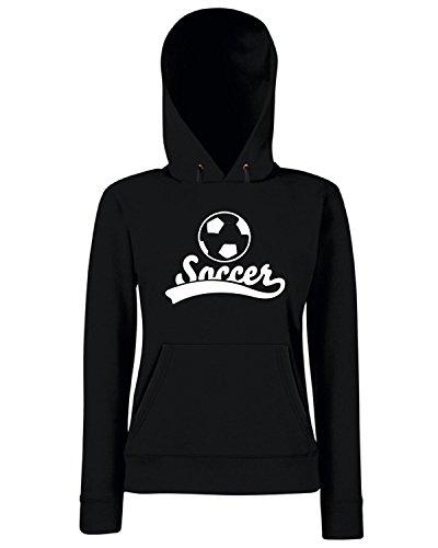 T-Shirtshock - Sweats a capuche Femme WC1191 Soccer Maglietta Noir